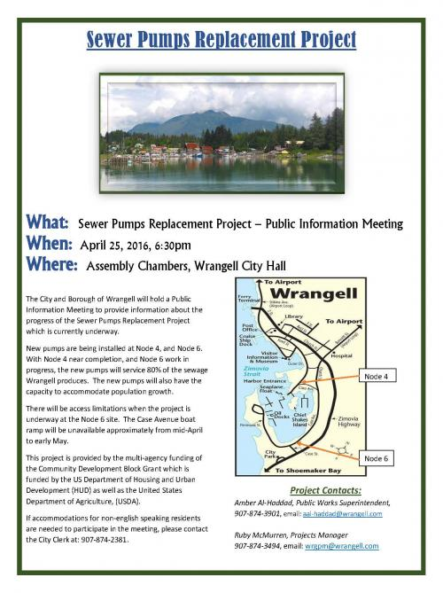 Sewer Pumps Replacement Project – Public Information Meeting